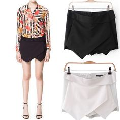 Womens Korean Fashion Tiered Asymmetric Wrap Mini Shorts Skirts R393