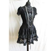 2 piece dress Frances, Victorian, steampunk, goth, lolita, burlesque, black lace Somnia Romantica by Marjolein Turin