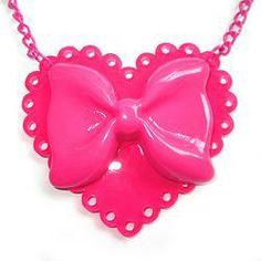 SALE : Sparkle Heart Necklace - Hot Pink