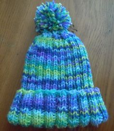 Rib knit hat knitting pattern, child's size