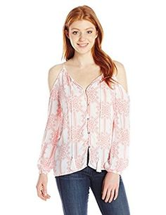 4f12e240ba8934 Derek Heart Junior's Strappy Long Sleeve Cold Shoulder, Pink Coral, Large  at Amazon Women's Clothing store: