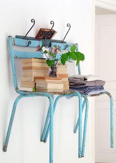Easy Homestead: Old Chair Storage  What a funny idea - makes me smile