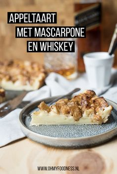 Appeltaart met mascarpone en whiskey - OhMyFoodness Banana Pancakes, Banana Bread, Whiskey, Cereal, Sweet Tooth, French Toast, Sweets, Dinner, Breakfast
