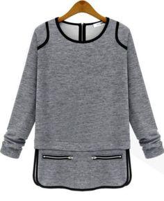 Camiseta cuello redondo cremallera-gris-Spanish SheIn(Sheinside) Sitio Móvil