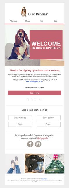 Welcome email from Hush Puppies #Email #Marketing #EmailMarketing #Welcome