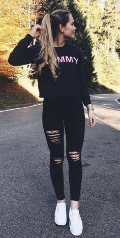 Jugendkleidung 37 Most Trending Spring Teenage Outfits Ideas - Casual School Outfits, Cute Comfy Outfits, Teen Fashion Outfits, Casual Fall Outfits, Simple Outfits, Outfits For Teens, Stylish Outfits, Cool Outfits, Summer Outfits