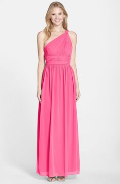 Charming Sleeveless One Shoulder Hot Pink Long Chiffon Bridesmaid Dress