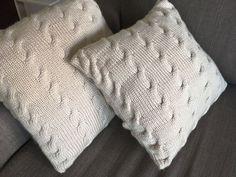 Beige knitted pillow case by MissLiiBySveta on Etsy