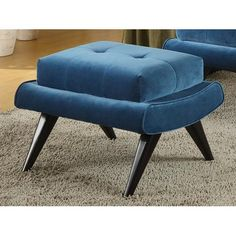 Off Avenue Cerulean Blue Ottoman with Ebony Wood Legs by Armen Living. framed ottoman that matches the 281 Ave. Blue cover w/ ebony wood legs. Blue Ottoman, Modern Ottoman, Round Ottoman, Tufted Ottoman, Blue Velvet Fabric, Crushed Velvet Fabric, Retro Furniture, Home Furniture, Furniture Ideas