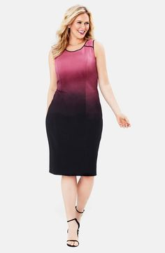 Mynt+1792+Ombré+Print+Sleeveless+Ponte+Sheath+Dress+(Plus+Size)+available+at+#Nordstrom