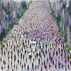 Protesters, an abstract landscape oil painting.   The thousands of protesters who took to the streets in cities across the United States following the presidential election inspired this painting. Art, painting, oil, figures, demonstrators, Donald Trump, Hillary Clinton, Trump, Clinton, people, election, politics, voters, vote, democracy, freedom, free, United States of America, America, USA, United States, protest, protestor, protestors, signs, street, buildings, shadows, city, cityscape