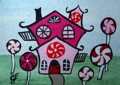 """The Pinwheel House""  Original Painting Artist Trading Card"
