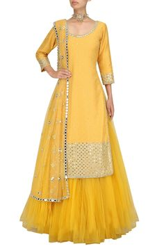 Items similar to yellow chanderi kurta with mirror embroidery, skirt and dupatta Indian wedding outfit bridesmaid dress yellow mehendi Sangeet lengha choli on Etsy Choli Designs, Kurta Designs Women, Lehenga Designs, Indian Gowns Dresses, Pakistani Dresses, Pakistani Mehndi Dress, Red Lehenga, Lehenga Choli, Anarkali