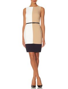 Belted Colorblock Sheath Dress from THELIMITED.com
