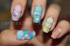 Rainbow Fish to the Rescue! inspired nail art.