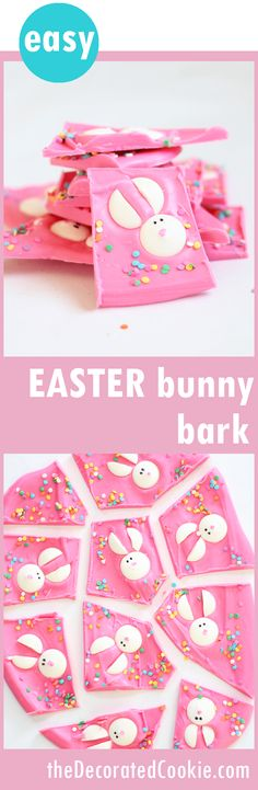 cute and easy EASTER bunny chocolate bark Chocolate Easter bunny bark is a fun food treat idea for Easter. Pink chocolate topped with candy melt bunnies. Video how-tos included. Easter Candy, Hoppy Easter, Easter Treats, Easter Food, Easter Eggs, Chocolate Easter Bunny, Diy Ostern, Easter Activities, Party Activities