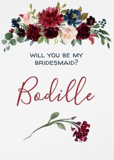 Will you be my bridesmaid? Hand painted romantic rustic watercolor flowers in burgundy navy blue and pink for an elegant bohemian wedding. Any design wishes? Just contact me and I will make it for you without extra costs at any Zazzle product #zazzle #wedding #burgundywedding #navywedding #junkydotcom