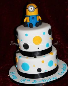 Minion Birthday Cake. Would be cute even without the minion.