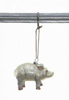"""MERCURY GLASS PIG ORNAMENT, WHITE, 4.75""""L"""