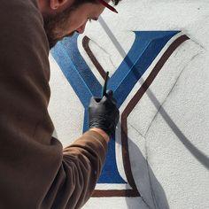 Blue bevel. @gedpalmer signage taking shape #signpainting #Bristol