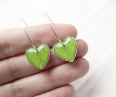 Cute leaf heart earrings.