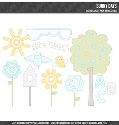 Sunny Days Digital Clipart Clip Art Illustrations  by MissTiina, $6.00