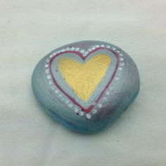 Heart Hand Painted & Decoupaged Rock