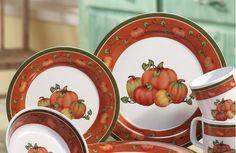 Harvest Fall Pumpkin Melamine Dinnerware Set Thanksgiving ~ new