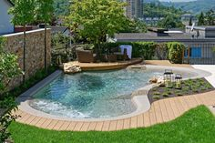 Backyard Pool Designs, Small Backyard Pools, Small Pools, Swimming Pools Backyard, Swimming Pool Designs, Pool Landscaping, Backyard Patio, Small Backyards, Piscina Rectangular