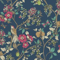 Shop New Holden DÉCOR DAMSEN Floral Pattern Bird Countryside Metallic Gold Wallpaper[Navy Free delivery on eligible orders of or more. Navy Wallpaper, Tropical Wallpaper, Metallic Wallpaper, Bird Wallpaper, Trendy Wallpaper, Blue Wallpapers, Fabric Wallpaper, Wallpaper Backgrounds, Bedroom Wallpaper