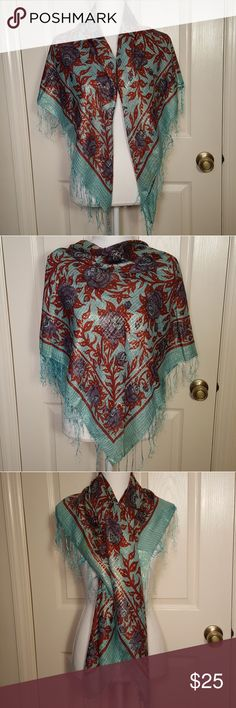 Indian Floral Rose Cotton Shawl Scarf Indian Floral Rose Shawl/ Scarf/ Wrap Great pre-loved condition!  Beautiful aqua blue, red, & purple with metallic gold detail and aqua blue fringe. 95% Cotton 5% Lurex Made in India Accessories Scarves & Wraps