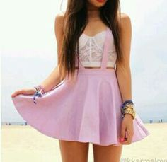 Lace bustier and lilac skirt