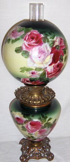 LARGE ROSE DECORATED ALL ORIGINAL GONE WITH THE WIND LAMP (NEVER ELECTRIFIED)