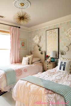 Creating a vintage chic little girl's bedroom with tips on layering prints, choosing paint colors and incorporating wallpaper! Includes a tutorial on this painted wood flooring and more!
