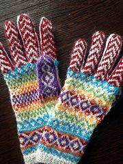 This pattern is easy to knit even for beginners in colorwork as there is absolutely no long yarn floats. Wrist Warmers, Fair Isle Knitting, Knitting Designs, Ravelry, Wish, Knit Crochet, Gloves, Rainbow, Colours