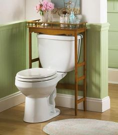 Marvelous Wooden Table Storage Over The Toilet Built With And Edge So Things Donu0027t  Fall