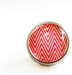 Red Chevron Modern Cabinet Knob By feather & wind contemporary knobs