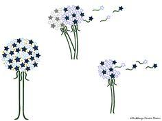3tlg Sterne Pusteblume Set • 13x18 Stickdateien von Stickdesign Kerstin Bremer auf DaWanda.com
