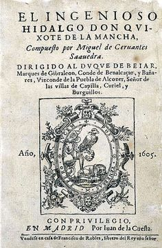 Don Quixote: novel authored by Miguel de Cervantes, perhaps the greatest work of Spanish literature. A survey of the entire fabric of Spanish society that can be read on several levels: as a burlesque of chivalric romances; as an exploration of conflicting views (idealistic vs. realistic) of life and of the world.