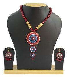 Handmade Terracotta Jewellery, Trendy Necklace Earring Set, Navy Blue