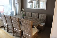 Our new diningroom table from Artwood and new rattan dining chairs . New england style, now i love it!