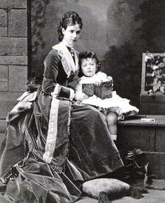 The Empress with her son Tsarevich Nicolas Alexandrovich Romanov, circa 1872.
