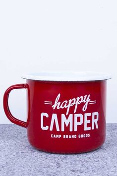 CBG ENAMELWARE // RED HAPPY CAMPER MUG | Camp Brand Goods