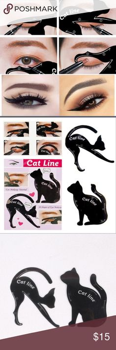 😺1 left!😺 Cat eye makeup stencils This two pack of cat eye makeup stencils help guide you to make it easier for you to create the perfect cat eye and control your eye shadow as well. A cute and fun way to make eye shadow application purrfect! 😸💋 Makeup Brushes & Tools