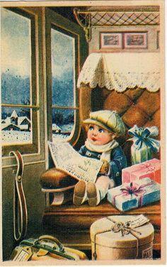 BERTIGLIA Bambino in Treno Illustratore PC Circa 1920