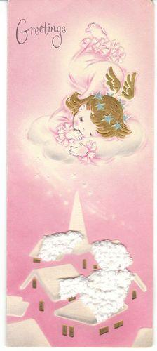 Vintage Christmas Card Angel on Cloud