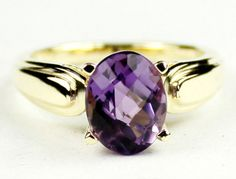 R058, Amethyst, 10Ky Gold Ring * Stone Type - Amethyst * Approximate Stone Size - 9x7mm  * Approximate Stone Weight - 2.3 cts  * Jewelry Metal - Solid 10k Yellow Gold * Approximate Metal Weight - 2.6 grams  * Ring Size - Size selectable during checkout * Our Warranty - A full year on workmanship  * Our Guarantee - Totally unconditional 30 day guarantee