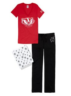 University of Wisconsin V-neck Tee & Boyfriend Pant Gift Set
