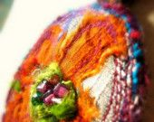 Cosmos Textile Pendant with Corded Necklace RESERVED for Esther