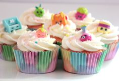 Easy, DIY Shopkins cupcakes using real shopkins as extra favors. The kids were delighted to eat these and they were a great success.